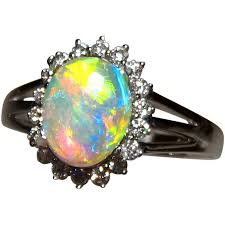 natural opal rings images Crystal opal ring with 18 diamonds 14k gold opal rings flashopal jpg