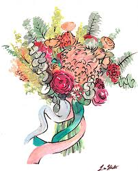 wedding flowers drawing custom bouquet watercolor free shipping flower drawing
