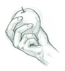 drawn macbook hand holding pencil and in color drawn macbook