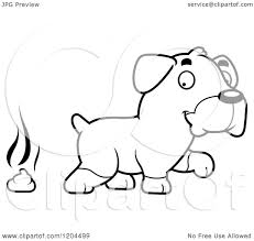 cartoon of a black and white cute rottweiler puppy dog pooping