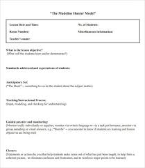 madeline hunter lesson plan template usefullhand net