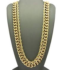 hip hop style necklace images Men hip hop rapper style gold hollow 30 quot rope chain cuban 2pcs jpg