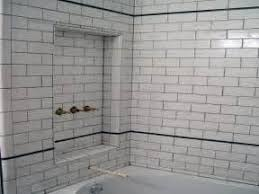 kitchen white subway tiles black glass tile bathroom with grout
