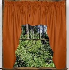 Rust Colored Kitchen Curtains Solid Rust Colored Swag Window Valance Optional Center Piece