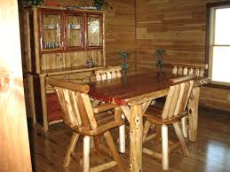 rush creek log cabin dining table w four chairs log dining room
