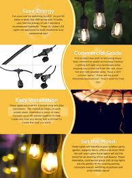 Outdoor Patio String Lights Led by Hudson Lighting Led String Lights 48 Foot 3 Year Warranty
