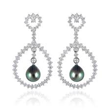 black dangle earrings ct leo pizzo diamond and south sea black pearl 18k white gold