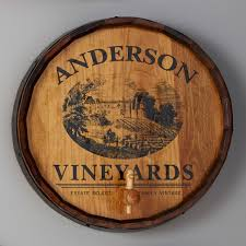 personalized quarter barrel sign with spigot vineyard