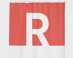 Monogram Shower Curtains Red Shower Curtain Etsy