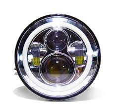 7 led projector headlights chrome or black 2x 7led