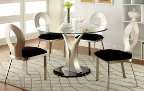 valo satin plated round pedestal dining room set from furniture of