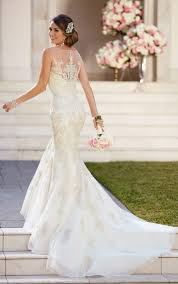 wedding dress illusion neckline fit and flare wedding dress with illusion neckline stella york