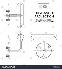 example third angle orthographic projection drawing stock vector