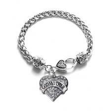 godmother bracelet pave heart charm bracelet