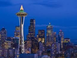 night view of seattle skyline with christmas tree on the space