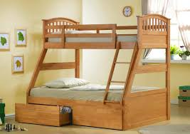 bedroom bedroom varnished wooden bunk bed with two drawers built
