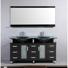 60 inch double bathroom vanity glass top with mirror eva furniture