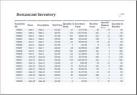 Restaurant Inventory Spreadsheet by Ms Excel Restaurant Inventory Template Excel Templates