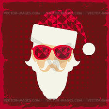 christmas background with santa in hipster vector clipart