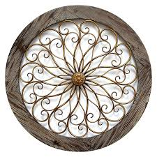 Metal Circle Wall Decor Round Wood And Copper Metal Wall Decor In