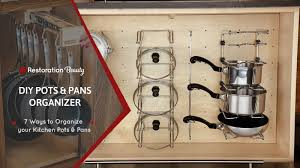 how to organize pots and pans in a cupboard diy pots and pans organizer 7 ways to organize your pots