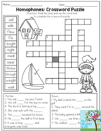 homophones crossword puzzle read the clues and use the word bank