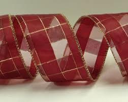 burgundy wired ribbon burgundy ribbon etsy