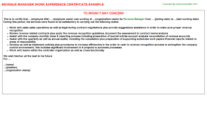 revenue manager work experience certificate