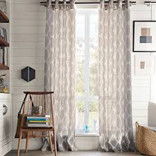 Linen Curtain Panels 108 Ikat Ogee Linen Curtain Ivory Platinum West Elm