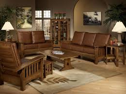 Wooden Sofa Chair With Cushions Living Room Brown Leather Sofa Armchair With Beige Floral