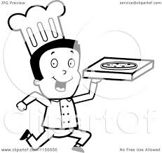 cartoon clipart of a black and white running pizza delivery boy