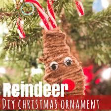diy reindeer ornament views from a step stool