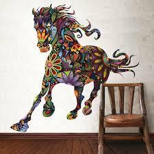 chambre cheval fille chambre enfant chambre fille grand cheval multicolore stiker deco