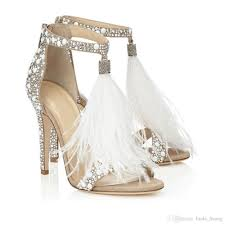fashion crystal embellished white high heel gladiator sandals