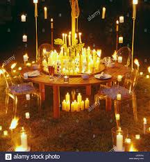 Dining Table Candles Candlelight Garden Large Wood Dining Table Four Chairs