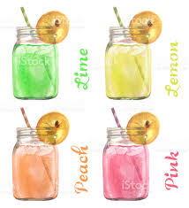 watercolor cocktail watercolor illustrated set of lemonades made of lemon lime peach