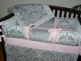 Pink And Brown Damask Crib Bedding Light Baby Pink Gray Damask Polka Dot 3 4pc Crib