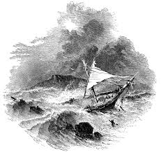 ship in a ship in a thunderstorm clipart etc