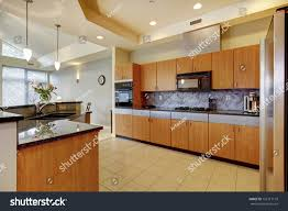 High Ceiling Kitchen by Large Modern Wood Kitchen Living Room Stock Photo 126117110