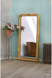 Bevelled Floor Mirror by Louis Philippe Fleur Gold Gilt Leaf Bevelled Mirror For Sale At
