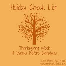 thanksgiving grocery list corn beans pigs and kids holiday check list 2 weeks before