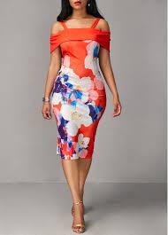 dress image strappy cold shoulder flower print sleeve dress modlily