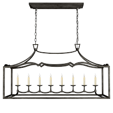 Visual Comfort Island Light Fancy Darlana Large Linear Pendant In Aged Iron Living Dining