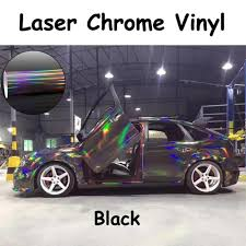 chrome wrapped cars holographic laser chrome black iridescent vinyl wrap car film 58
