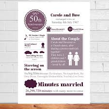 personalised 50th golden wedding anniversary by afewhometruths