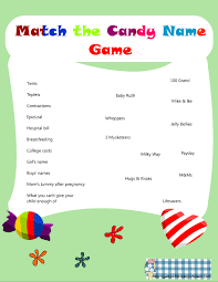Free Baby Shower Scramble Games - free printable match the candy bar name game for baby shower
