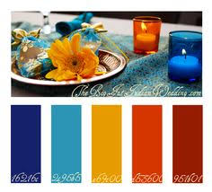 red orange cream blue and dark blue all work together to create