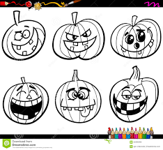 halloween pumpkins coloring page stock vector image 60385996