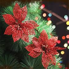 New Year Tree Decorations by 1pcs 2017 Christmas Decorations For Home Glitter Hollow Flower