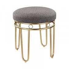 nicholine square stool gray and gold